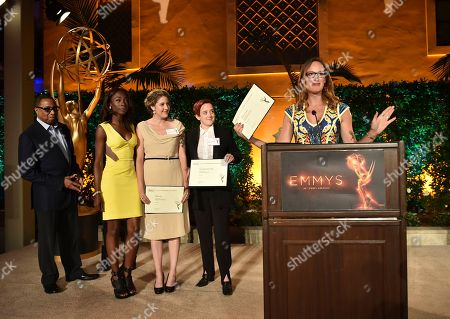 """Hayma """"Screech"""" Washington, from left, Angelica Ross, Laura Zak, Katherine Reed Fisher and Jen Richards attend the Television Academy's 2016 Producers Nominee Reception at the Montage Hotel, in Beverly Hills, Calif"""