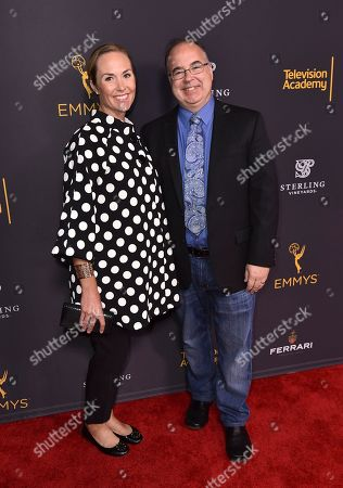 Stock Image of Kristin Carey, left, and Thomas Schnauz attend the Television Academy's 2016 Producers Nominee Reception at the Montage Hotel, in Beverly Hills, Calif