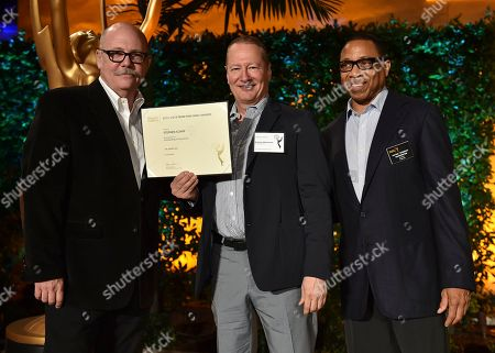 """Stock Photo of Tim Gibbons, from left, Stephen Schiff and Hayma """"Screech"""" Washington attend the Television Academy's 2016 Producers Nominee Reception at the Montage Hotel, in Beverly Hills, Calif"""