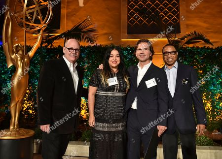 """Tim Gibbons, from left, Linda Morel, Paul Young and Hayma """"Screech"""" Washington attend the Television Academy's 2016 Producers Nominee Reception at the Montage Hotel, in Beverly Hills, Calif"""