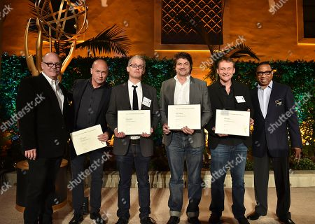 """Tim Gibbons, from left, Mike Judge, Dan O'Keefe, Clay Tarver, Alec Berg and Hayma """"Screech"""" Washington attend the Television Academy's 2016 Producers Nominee Reception at the Montage Hotel, in Beverly Hills, Calif"""