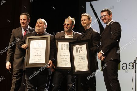 Bart Herbison, left, stands with Mark Irwin, Andrew Dorff, Josh Kear and Lee Thomas Millerat The Nashville Songwriters Hall of Fame Dinner and Induction Ceremony at the Music City Center, in Nashville, Tenn