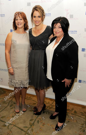 Honorees Lisa Greer, left, Amy Brenneman, center, and Susan Cartsonis pose together at The Crohn's and Colitis Foundation of America's Women of Distinction Luncheon at The Beverly Hills Hotel on in Beverly Hills, Calif