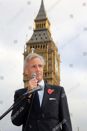 Demonstration In Support Of Sgt Alexander Blackman Marine A' Jailed For Murder. Parliament Square London. Richard Drax Mp Talks To The Crowd.