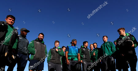 Today Connacht Rugby players and staff went on a community visit to Garbally College, county Galway to give a coaching masterclass to the students there. Pictured is Dave Heffernan, Niyi Adeolokun, Peter McCabe, Conán O'Donnell , Jake Heenan, Naulia Dawai, Cian Kelleher, Darragh Leader, James Mitchell, Jack Carty and Peter Robb prepare for the session