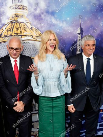 Australian actress Nicole Kidman, center, President and CEO of Le Printemps Paolo De Cesare, left, and LVMH Group Managing Director Antonio Belloni inaugurate the shop windows for the Christmas season at the Le Printemps Haussmann department store in Paris