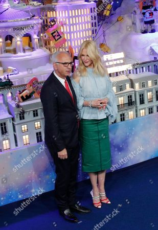 Australian actress Nicole Kidman, and President and CEO of Le Printemps Paolo De Cesare, inaugurate the shop windows for the Christmas season at the Le Printemps Haussmann department store in Paris