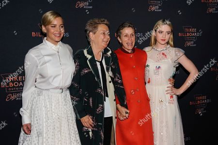 Abbie Cornish, from left, Sandy Martin, Frances McDormand, and Kathryn Newton
