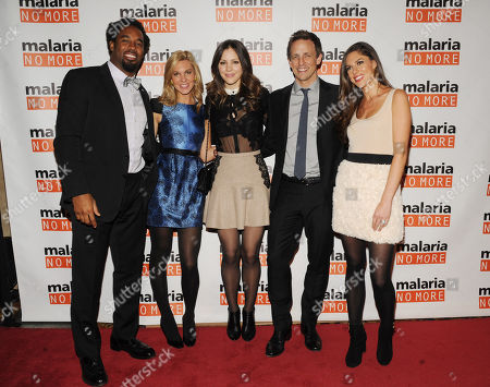 From left, Dhani Jones, Mary Anne Huntsman, Katharine McPhee, Seth Meyers and Abby Huntsman attend the 2012 Malaria No More International Honors on in New York