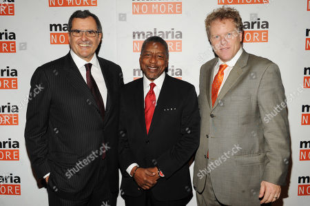 Stock Photo of From left, Co-Founder and Chairman Peter Chernin, CEO of RLJ Companies Robert L. Johnson and CEO David Bowen attend the 2012 Malaria No More International Honors on in New York