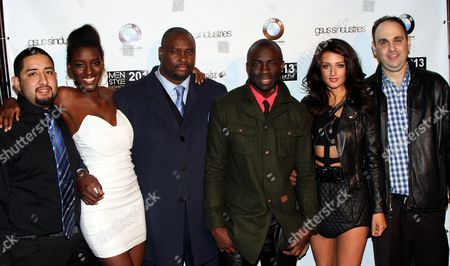 """Cast of the Chosen One Daniel Gonzalez, Zeta Morrison. Big Dre, Sam Sarpong Inessa Alex and Brian Schaffer seen at 2013 Men's Style Fashion Awards honoring Sam Sarpong """"Star of The Year"""" at Fatty's Bar and Restaurant on Saturday, Dec.21, 2013, in West Hollywood. California"""