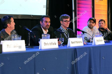Stock Photo of Chris deFaria, Namit Malhotra, Mike Simpson, Palak Patel and Oren Peli speak at the Produced by Conference on in Los Angeles
