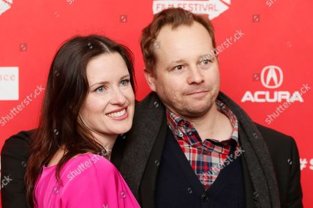 """Director, writer and producer Liz Garcia and her husband and cast member Joshua Harto, right, pose together at the premiere of """"The Lifeguard"""" during the 2013 Sundance Film Festival on in Park City, Utah"""