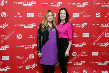 """Cast member Kristen Bell, left, who is pregnant, and director, writer and producer Liz Garcia, right, pose together at the premiere of """"The Lifeguard"""" during the 2013 Sundance Film Festival on in Park City, Utah"""