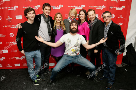 "Cast member Martin Starr, center front, poses along with, from left, Alex Shaffer, David Lambert, Kristen Bell, Mamie Gummer, director and writer Liz Garcia, Joshua Harto, and Paulie Litt at the premiere of ""The Lifeguard"" during the 2013 Sundance Film Festival on in Park City, Utah"