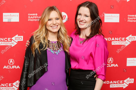 """Stock Image of Cast member Kristen Bell, left, who is pregnant, and director, writer and producer Liz Garcia, right, pose together at the premiere of """"The Lifeguard"""" during the 2013 Sundance Film Festival on in Park City, Utah"""