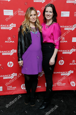 """Stock Picture of Cast member Kristen Bell, left, who is pregnant, and director, writer and producer Liz Garcia, right, pose together at the premiere of """"The Lifeguard"""" during the 2013 Sundance Film Festival on in Park City, Utah"""