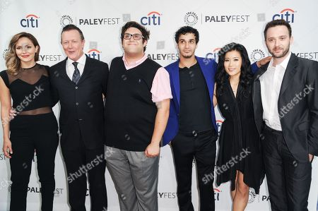From left, Katharine McPhee, Robert Patrick, Ari Stidham, Elyes Gabel, Jadyn Wong, and Eddie Kaye Thomas arrive at the 2014 PALEYFEST Fall TV Previews - CBS, in Beverly Hills, Calif