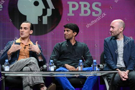 """Executive producer Rebecca Eaton, from left, actors Henry Lloyd-Hughes, Nikesh Patel and creator/writer Paul Rutman speak onstage during the """"Masterpiece: Indian Summers"""" panel at the PBS 2015 Summer TCA Tour held at the Beverly Hilton Hotel on in Beverly Hills, Calif"""