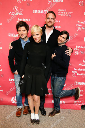"""From left to right, executive producer and actor Adam Scott, actress Judith Godreche, director and writer Patrick Brice and actor Jason Schwartzman pose together at the premiere of """"The Overnight"""" during the 2015 Sundance Film Festival, in Park City, Utah"""
