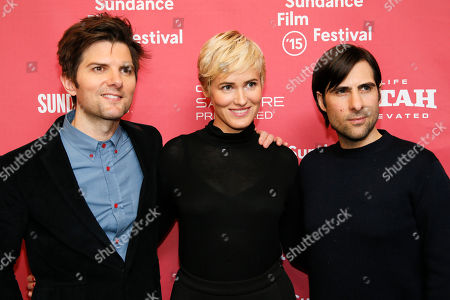"""From left to right, actor Adam Scott, actress Judith Godreche and actor Jason Schwartzman pose together at the premiere of """"The Overnight"""" during the 2015 Sundance Film Festival, in Park City, Utah"""