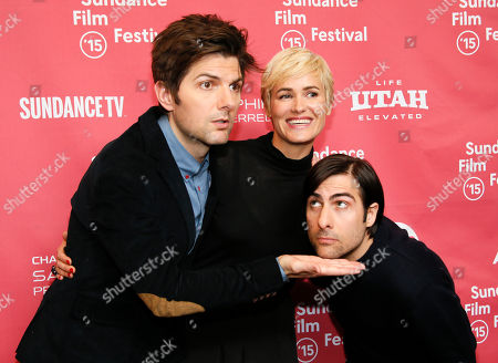 """Actors, from left, Adam Scott, Judith Godreche and Jason Schwartzman pose at the premiere of """"The Overnight"""" during the 2015 Sundance Film Festival, in Park City, Utah"""