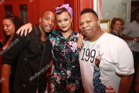 Stock Photo of Musician Trombone Shorty left, singer Andra Day and rapper Mannie fresh are seen at Apple Music R & B Rising during the Essence Music Festival at Kingsway Mansion, in New Orleans, LA