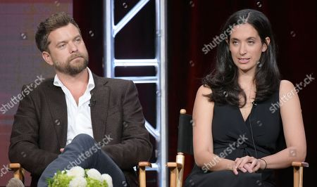 """Stock Picture of Joshua Jackson, left, and executive producer Sarah Treem participate in """"Love & Marriage on TV"""" panel during the Showtime Critics Association summer press tour, in Beverly Hills, Calif"""