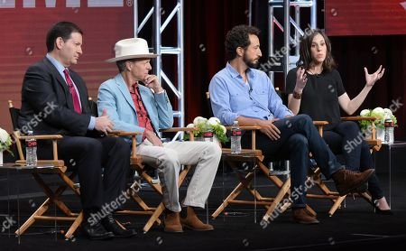 "Producers Mark Halperin, from left, Mark McKinnon and directors Josh Kriegman and Elyse Steinberg participate in ""The Circus of Politics"" panel during the Showtime Critics Association summer press tour, in Beverly Hills, Calif"