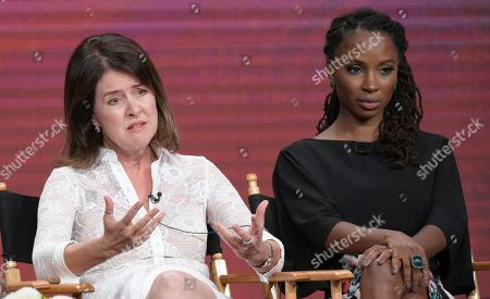 """Stock Picture of Executive producer Michelle Ashford, left, and Shanola Hampton participate in """"Love & Marriage on TV"""" panel during the Showtime Critics Association summer press tour, in Beverly Hills, Calif"""