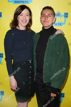 "Julia Hart, left, and Anthony Quintal arrive at the screening of ""Miss Stevens"" during South By Southwest at the Austin Convention Center, in Austin, Texas"