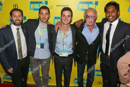 "Stock Image of From left, Kasra Farahani, Allan Mandelbaum, Trevor White, James Caan, and Giri Tharan attend a screening of ""The Waiting"" at the Paramount Theatre during the South by Southwest Film Festival, in Austin, Texas"