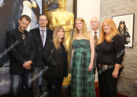 From left, Joel Harlow, Stephen Prouty, Gloria Pasqua-Casny, Robin Mathews, Leonard Engelman, and Adruitha Lee pose at 86th Academy Awards - Makeup and Hairstyling Reception on in Beverly Hills, Calif