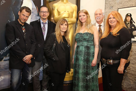 From left, Joel Harlow, Stephen Prouty, Gloria Pasqua-Casny, Robin Mathews, Leonard Engelman, and Adruitha Lee pose at 86th Academy Awards - Makeup and Hairstyling reception, in Beverly Hills, Calif