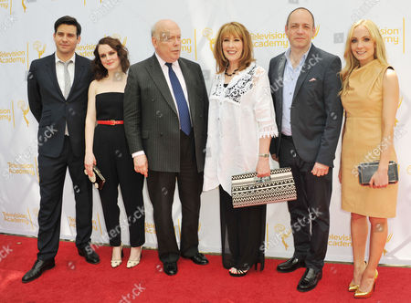 Robert James-Collier, from left, Sophie McShera, Julian Fellowes, Phyllis Logan, Gareth Neame, and Joanne Froggatt arrives at An Afternoon at Downton Abbey presented by The Television Academy at Paramount Studios, in Los Angeles