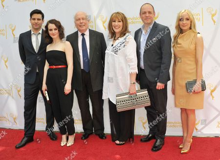 Robert James-Collier, from left, Sophie McShera, Julian Fellowes, Phyllis Logan, Gareth Neame, and Joanne Froggatt arrive at An Afternoon at Downton Abbey presented by The Television Academy at Paramount Studios, in Los Angeles