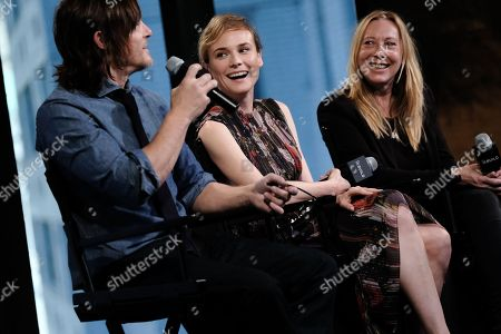 """Actors Norman Reedus, left, Diane Kruger and director Fabienne Berthaud participate in AOL's BUILD Speaker Series to discuss the film """"Sky"""" at AOL Studios, in New York"""