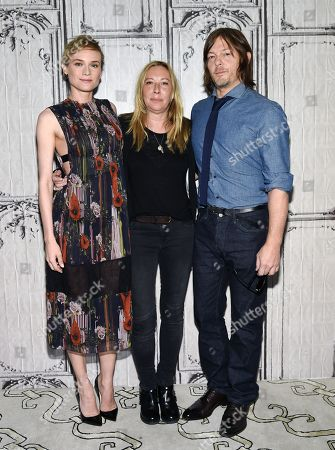 """Actor Diane Kruger, left, director Fabienne Berthaud and actor Norman Reedus participate in AOL's BUILD Speaker Series to discuss the film """"Sky"""" at AOL Studios, in New York"""