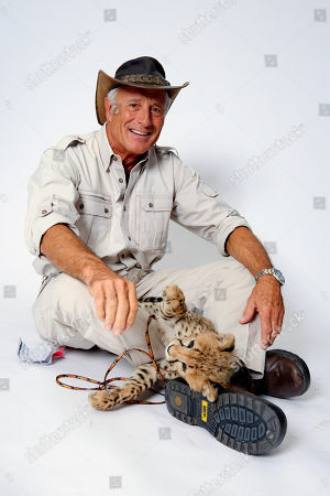 Wildlife advocate Jack Hanna poses for a portrait with a cheetah cub on in New York
