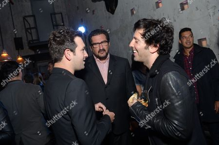 From left, Jeffrey Azoff of CAA, Billboard Magazine Editor in Chief Tony Gervino, and President and Head of A&R at SONGS Ron Perry seen at Billboard Magazine's Celebration of '40 Under 40' at Toro Restaurant on in New York City