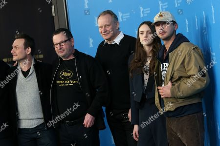 From left, Christian Slater, Lars von Trier, Stellan Skarsgard, Stacy Martin and Shia LaBoeuf pose for photographers at the photo call for the film Nymphomaniac during the 64th Berlinale International Film Festival, in Berlin