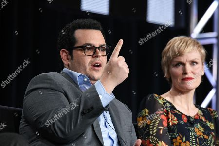 """Josh Gad, left, and Stephnie Weir speak on stage during the """"The Comedians"""" panel at the FX 2015 Winter TCA, in Pasadena, Calif"""