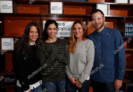 """Amy Koppelman, Sarah Silverman, Paige Dylan and Adam Salky from the film """"I Smile Back"""" are seen at the Indiewire Photo Studio at Chase Sapphire on Main during the 2015 Sundance Film Festival, in Park City, Utah"""