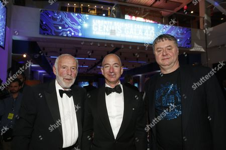 "From Left, Dr. James Simons, Jeff Bezos, and Paul Hoffman attend the Liberty Science Center Genius Gala 4.0 where Jeff Bezos, Founder and Chairman of Amazon, Vinton Cerf, Chief Internet Evangelist at Google and Father of the internet, and Jill Tarter, astronomer and SETI researcher of ""Contact"" fame, are honored on Fri., in Jersey City, N.J. The gala, hosted by Center President Paul Hoffman, also pays tribute to former NJ Governor Tom Kean on his 80th birthday and features a special performance by magician/ illusionist David Blaine, and raises funds to support the Center's vast array of exhibitions, educational programs, and community initiatives"