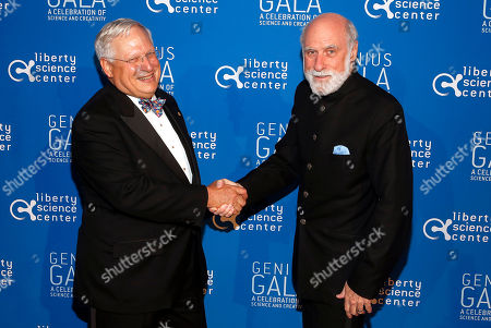 "LSC Chairman, Dr. William Tansey, left, and Chief Internet Evangelist at Google Vinton Cerf attend the Liberty Science Center Genius Gala 4.0 where Jeff Bezos, Founder and Chairman of Amazon, Vinton Cerf, Chief Internet Evangelist at Google and Father of the internet, and Jill Tarter, astronomer and SETI researcher of ""Contact"" fame, are honored on Fri., in Jersey City, N.J. The gala, hosted by Center President Paul Hoffman, also pays tribute to former NJ Governor Tom Kean on his 80th birthday and features a special performance by magician/ illusionist David Blaine, and raises funds to support the Center's vast array of exhibitions, educational programs, and community initiatives"