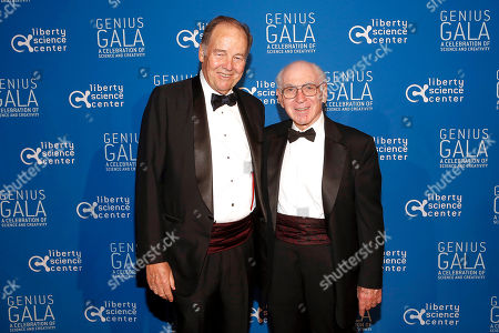 "Former N.J. Governor Tom Kean, left, and LSC board member Josh Weston, attend the Liberty Science Center Genius Gala 4.0 where Jeff Bezos, Founder and Chairman of Amazon, Vinton Cerf, Chief Internet Evangelist at Google and Father of the internet, and Jill Tarter, astronomer and SETI researcher of ""Contact"" fame, are honored on Fri., in Jersey City, N.J. The gala, hosted by Center President Paul Hoffman, also pays tribute to former NJ Governor Tom Kean on his 80th birthday and features a special performance by magician/ illusionist David Blaine, and raises funds to support the Center's vast array of exhibitions, educational programs, and community initiatives"