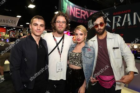 "Dave Franco, Director Henry Joost, Emma Roberts and Director Ariel Schulman seen at Lionsgate ""Nerve"" Talent Signing at 2016 Comic-Con, in San Diego, Calif"