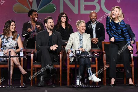 """Kelly Brook, from left, Brandon Smith, Nick Zano, Rebecca Corry, Ellen DeGeneres, Chris Williams, and Elisha Cuthbert speak on stage during the """"One Big Happy"""" panel at the NBC 2015 Winter TCA, in Pasadena, Calif"""