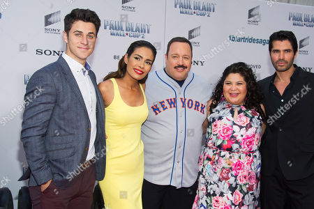 "David Henrie, from left, Daniella Alonso, Kevin James, Raini Rodriguez and Eduardo Verastegui attend the premiere of ""Paul Blart: Mall Cop 2"" at AMC Loews Lincoln Square, in New York"