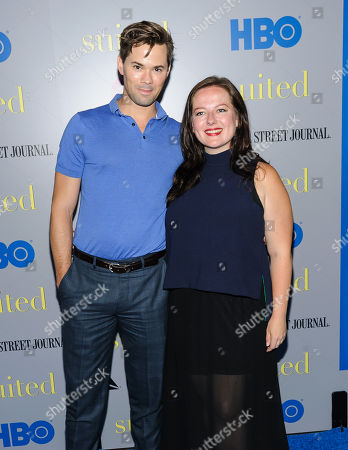 "Andrew Rannells and Zuzanna Szadkowski attends the premiere of HBO Documentary Films' ""Suited"", at BAM Rose Cinemas, in New York"